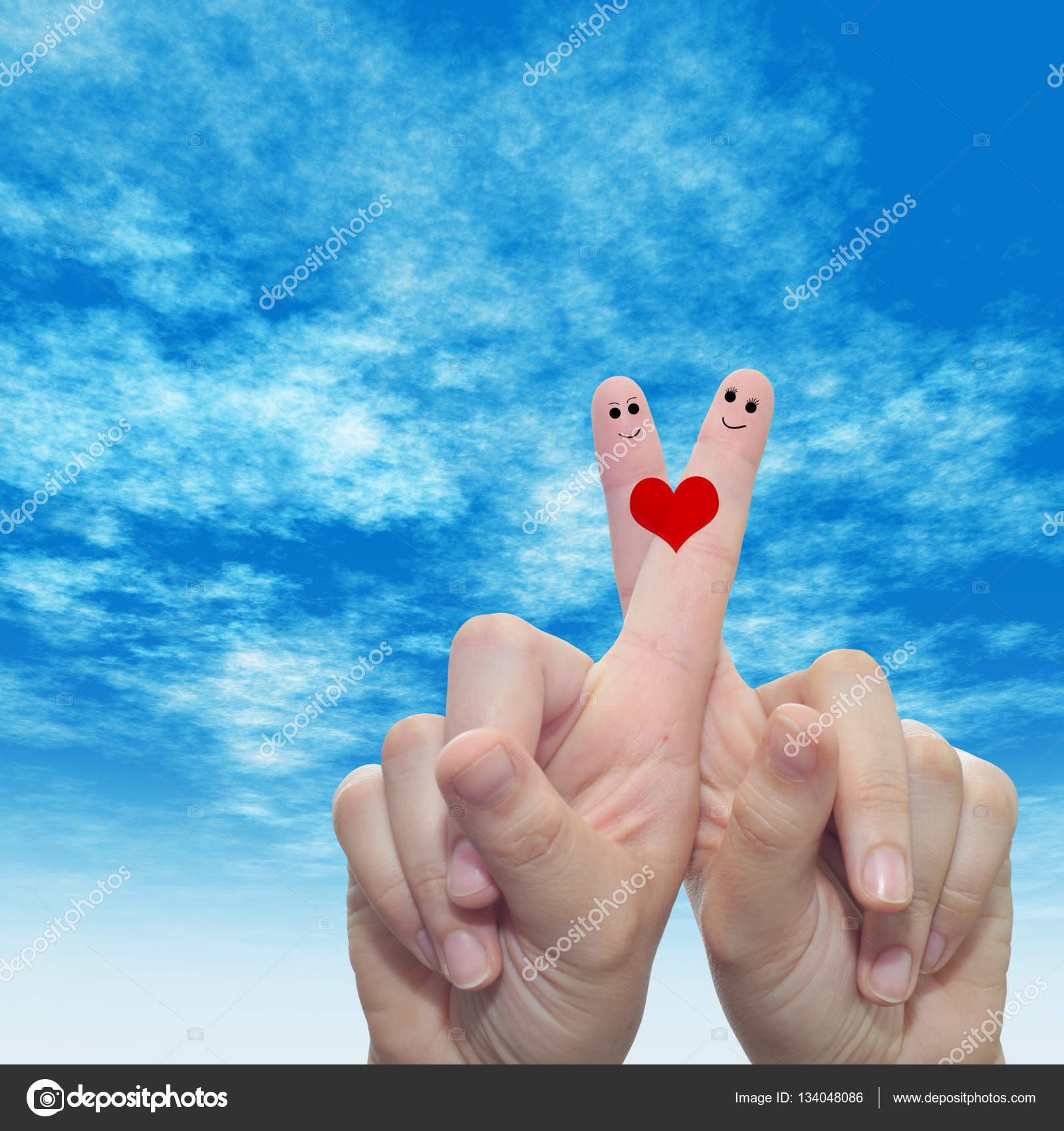 Female Fingers Painted With Heart And Faces Stock Photo Design36