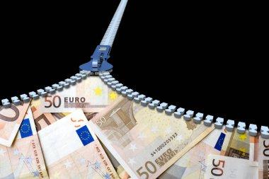 metal zipper and euro banknotes