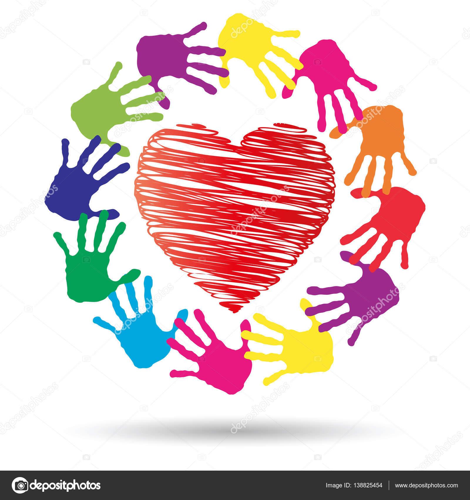 Heart Symbol With Hand Prints Stock Photo Design36 138825454