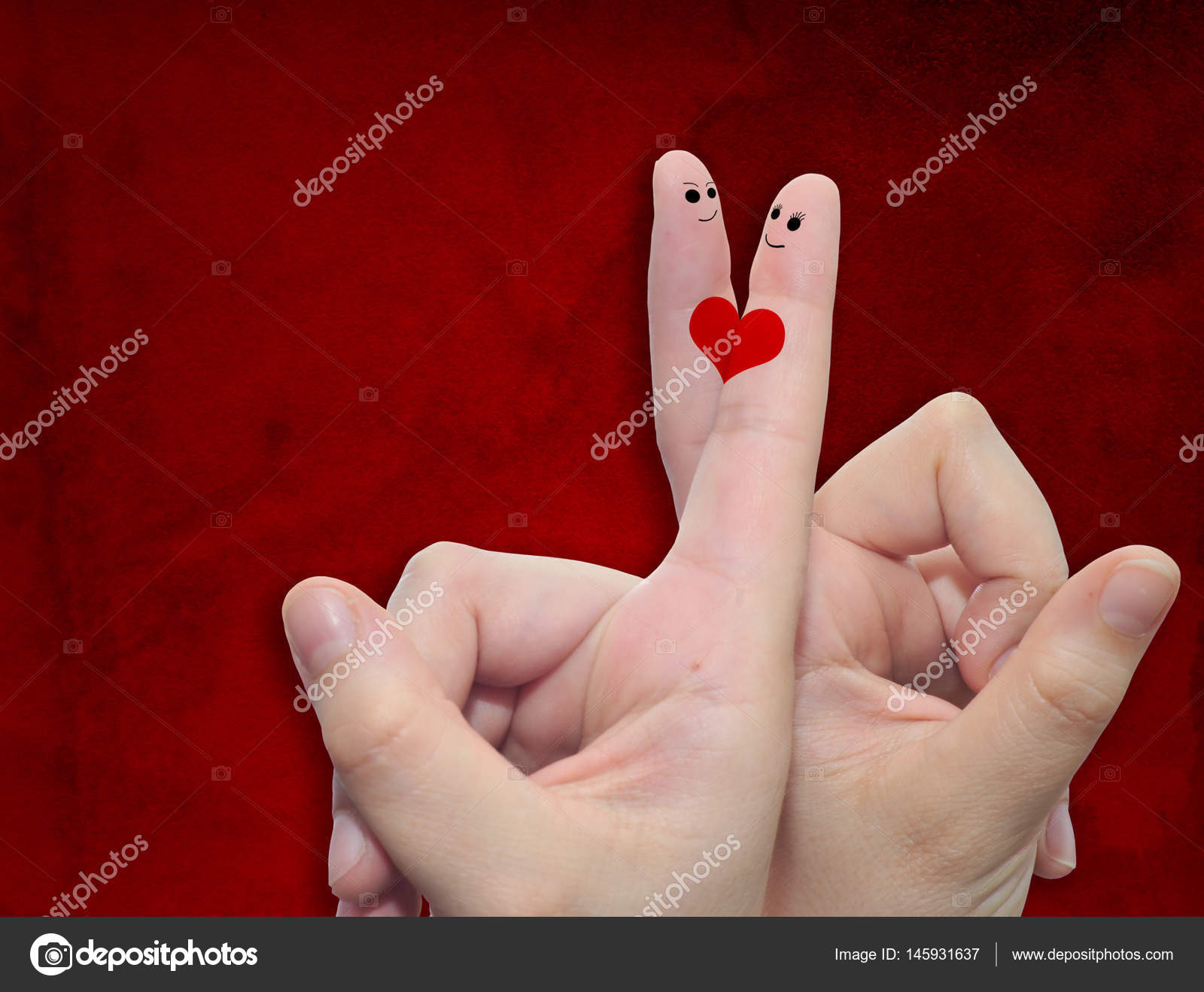 Fingers With Heart And Faces Stock Photo Design36 145931637