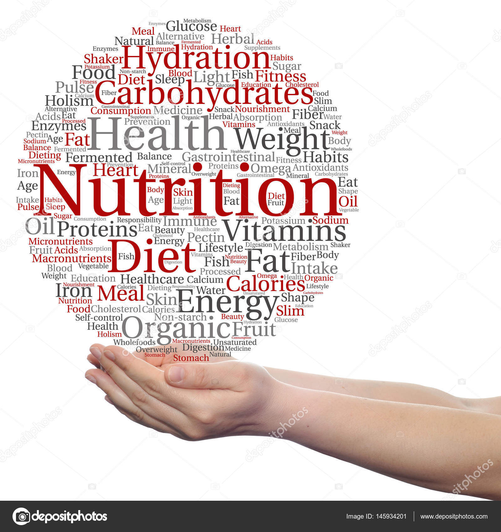 conceptual cloud of nutrition words stock photo design36 145934201