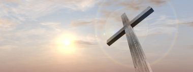 religious christian cross with sunset sky
