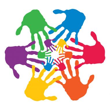colorful painted human hands