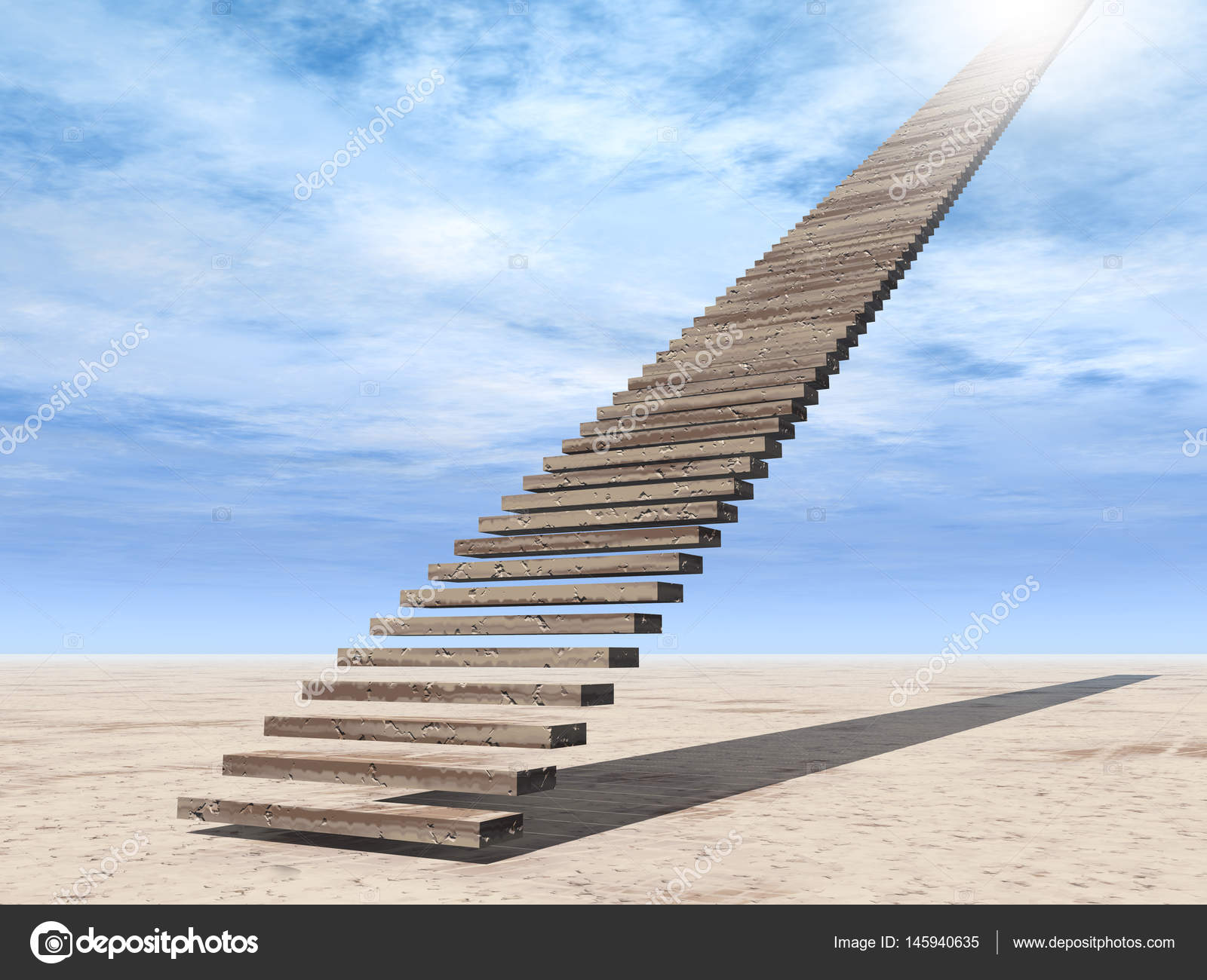 3D Illustration Stair Steps To Heaven U2014 Stock Photo