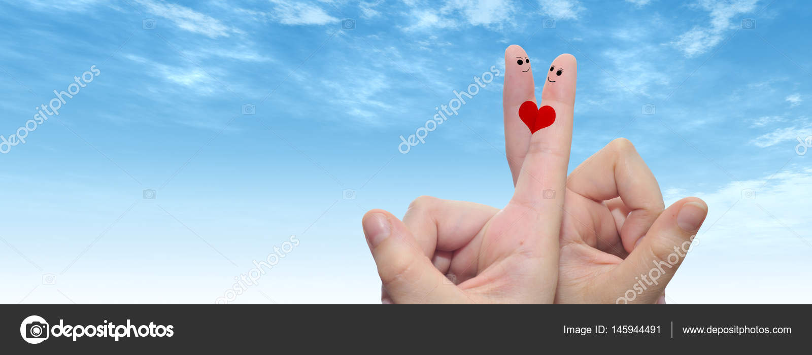 Fingers With Heart And Faces Stock Photo Design36 145944491