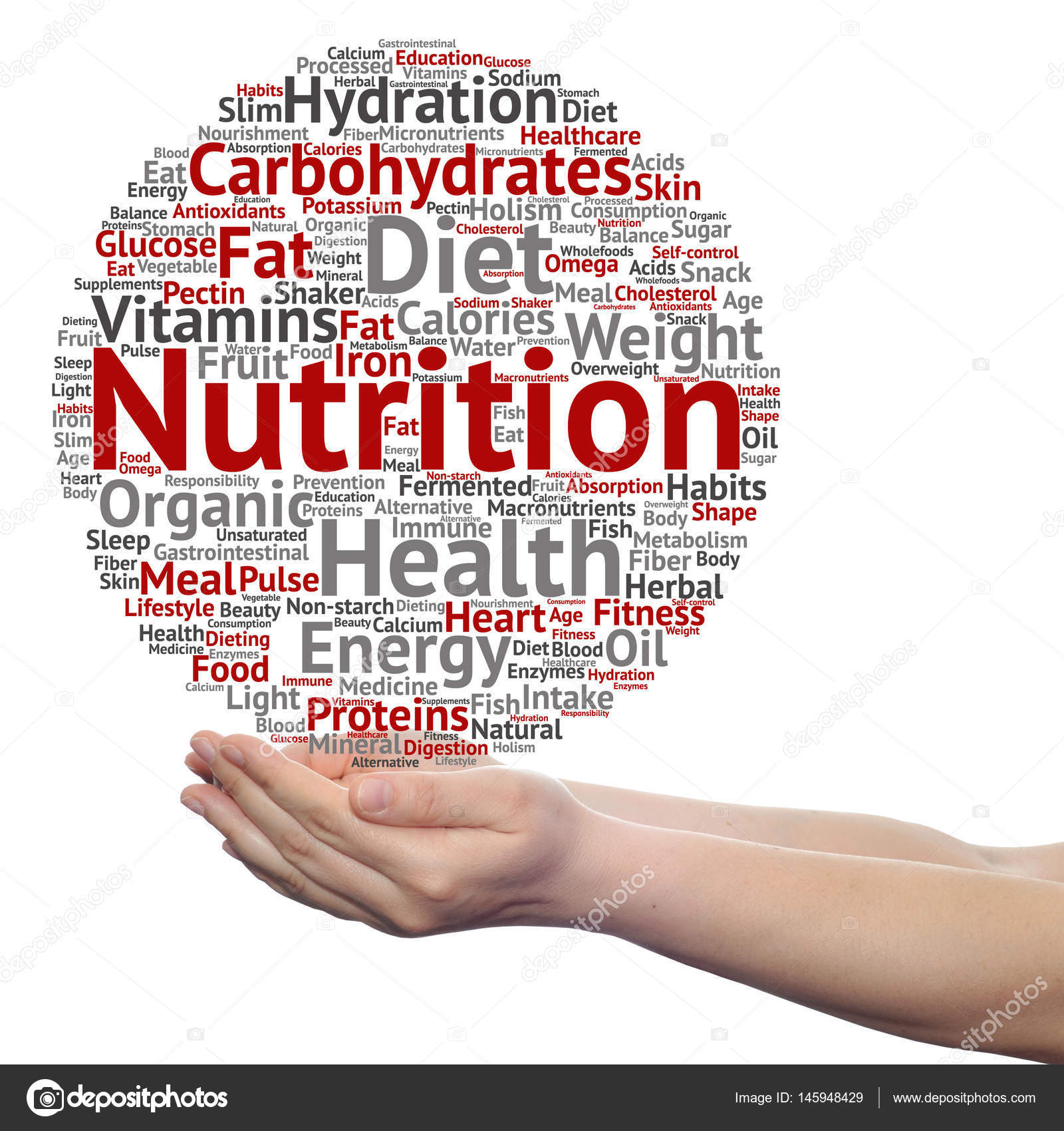 conceptual cloud of nutrition words stock photo design36 145948429