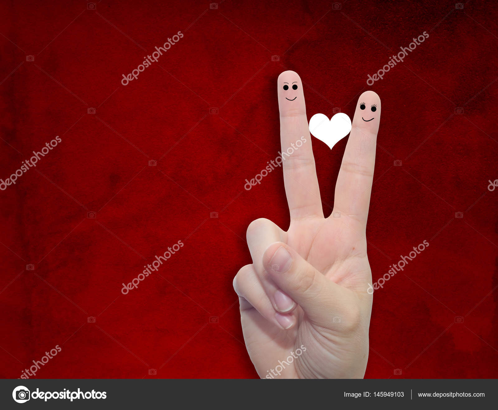 Fingers With Heart And Faces Stock Photo Design36 145949103