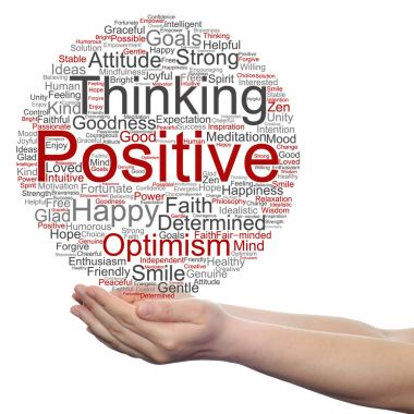 Conceptual cloud of positive thinking