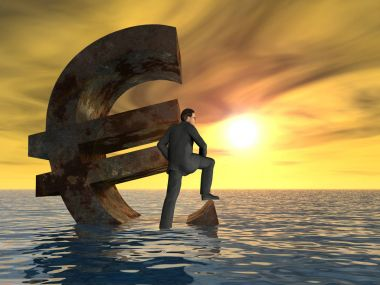 currency euro symbol sinking in sea