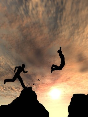 men jumping over cliff