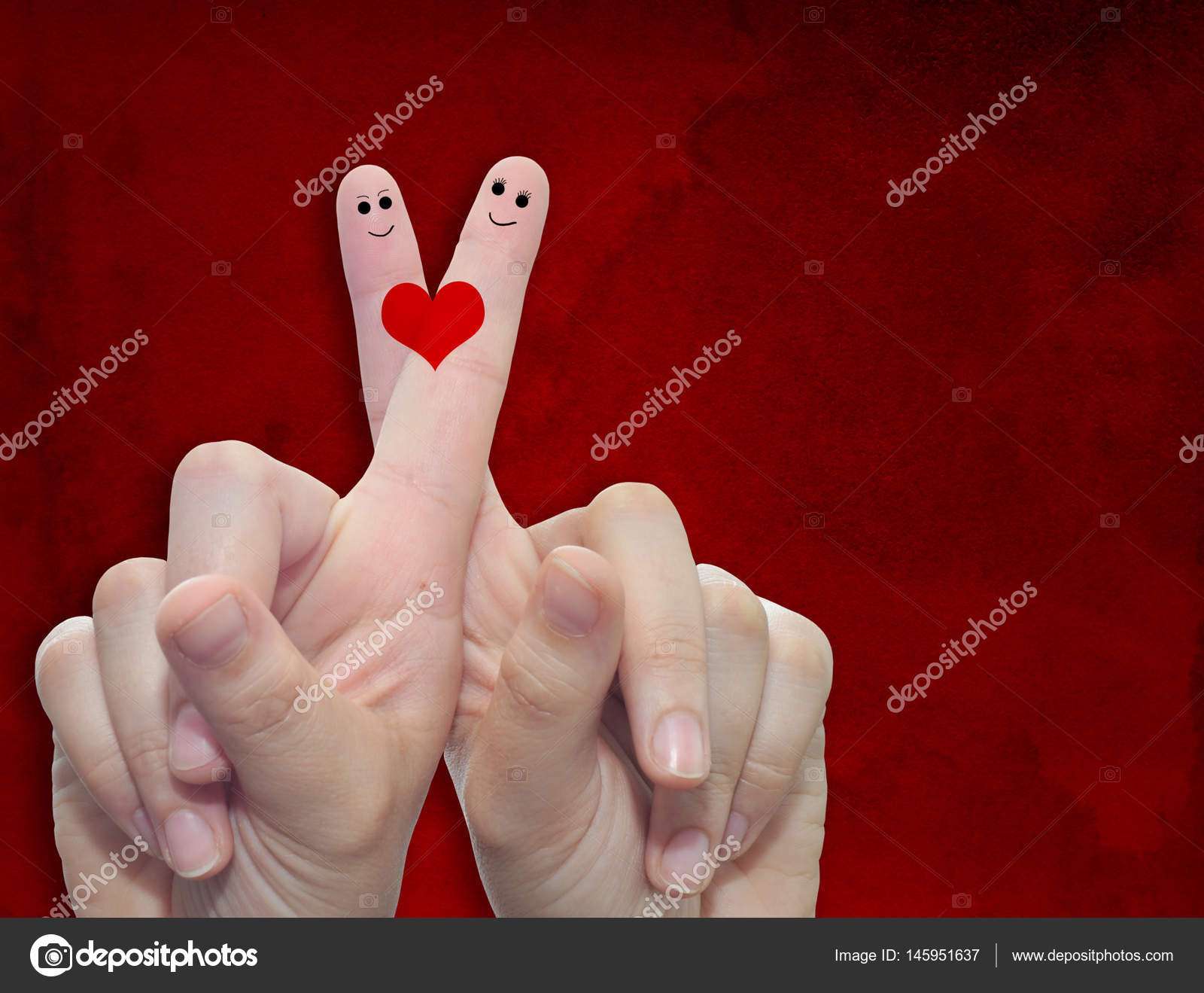 Fingers With Heart And Faces Stock Photo Design36 145951637