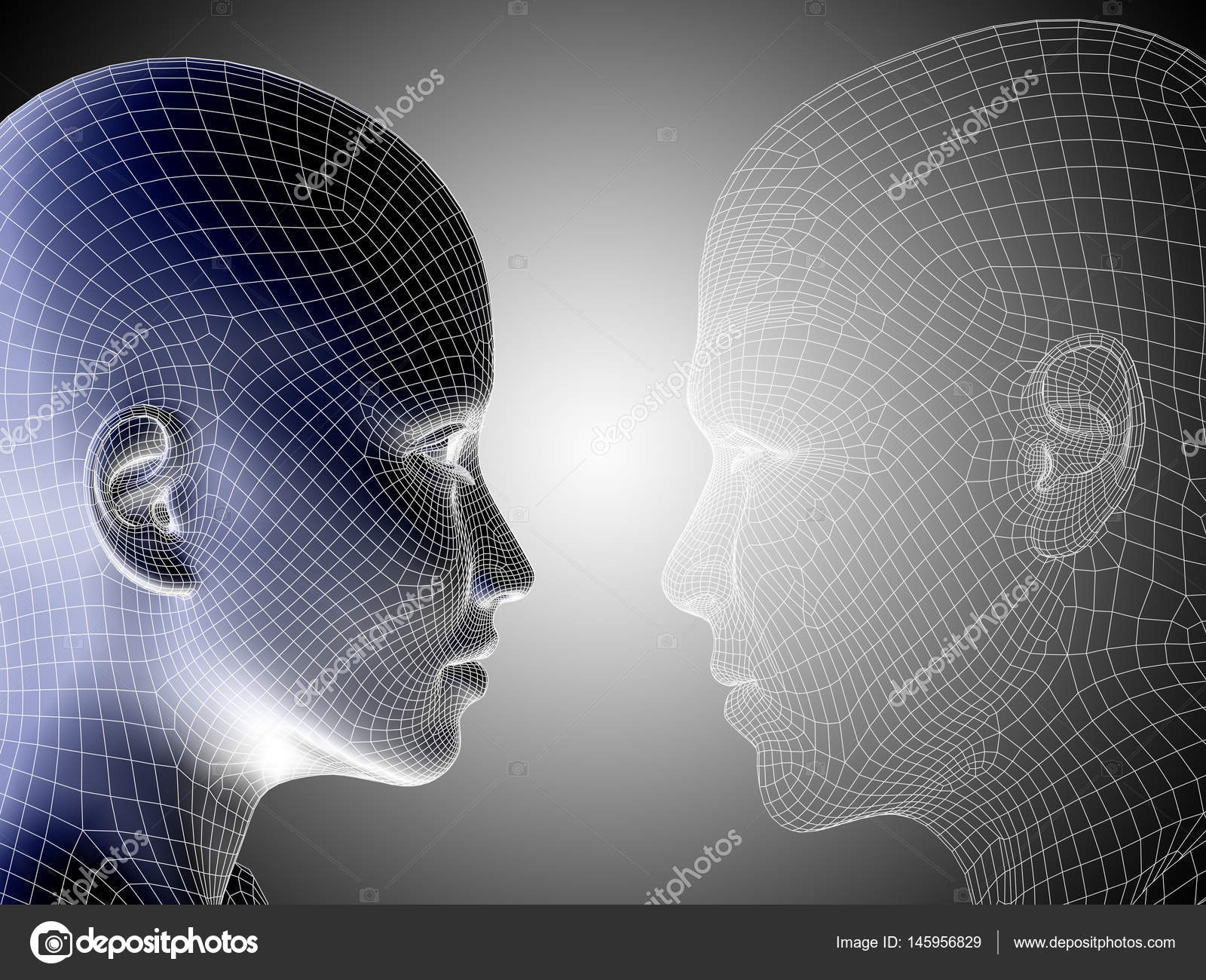 3D illustration wireframe young human face — Stock Photo