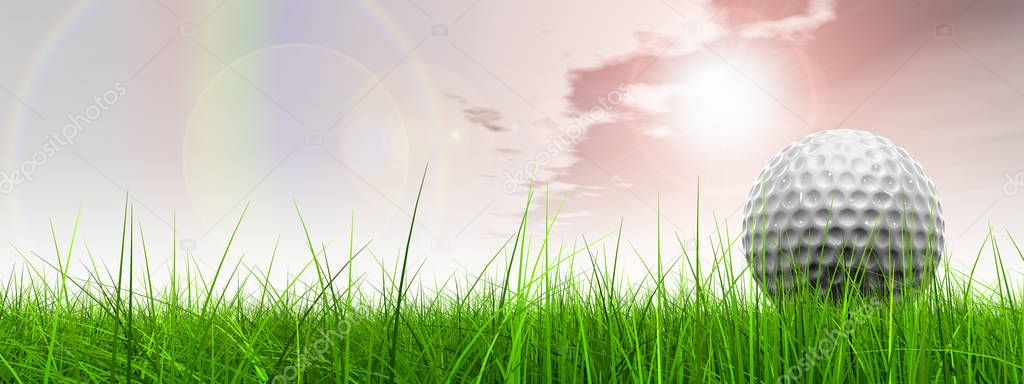 l sport grass over sky background banner with golf ball at horizon