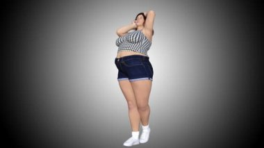 Conceptual overweight big, heavy or fat woman before and after diet, fitness or liposuction turning into a beautiful slim fit young girl. A 4k video 3D rendering animation on gray gradient background