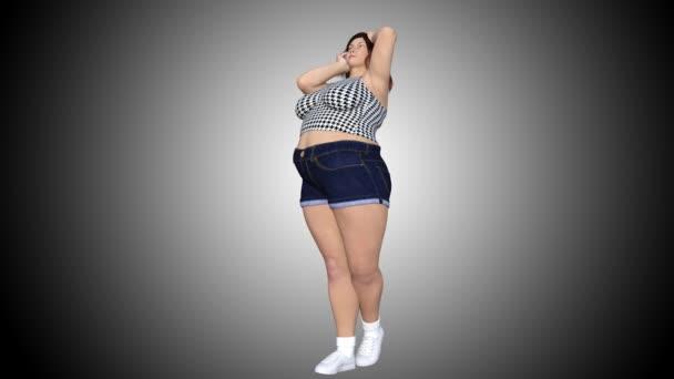 Konceptuální nadváhu velké, těžké nebo tlustá žena před a po jídelníčku, fitness nebo liposukce proměnili v krásné slim fit mladá dívka. 4 k video 3d vykreslování animací na šedém pozadí s přechodem