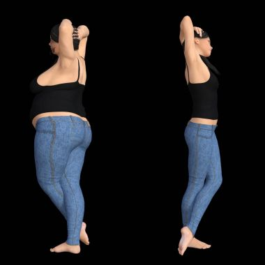 fat overweight obese female vs slim fit healthy diet
