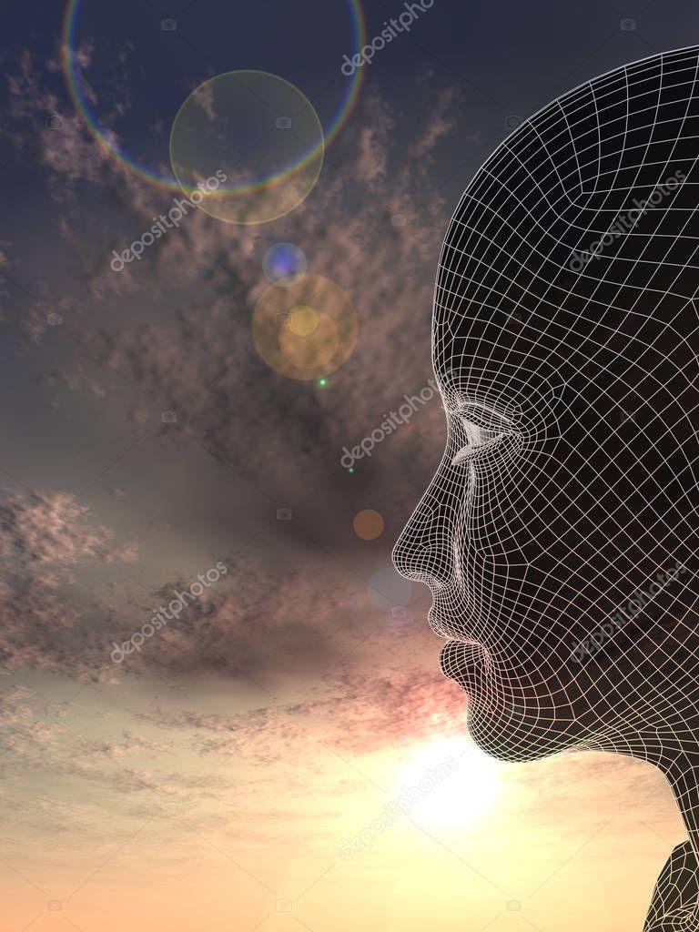 Conceptual female head