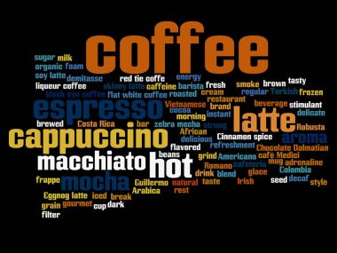 hot drinks words concept