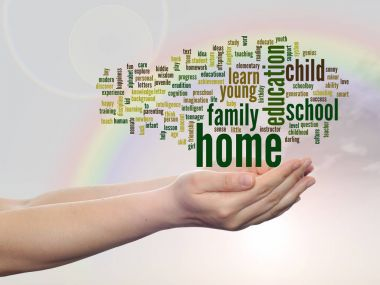 home and education abstract word cloud