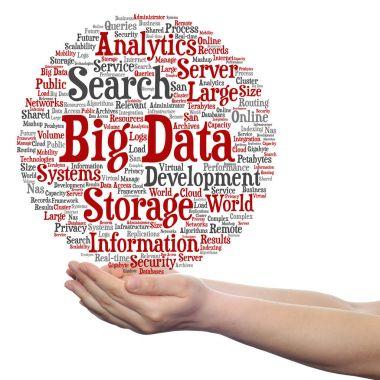 big data word cloud in hands