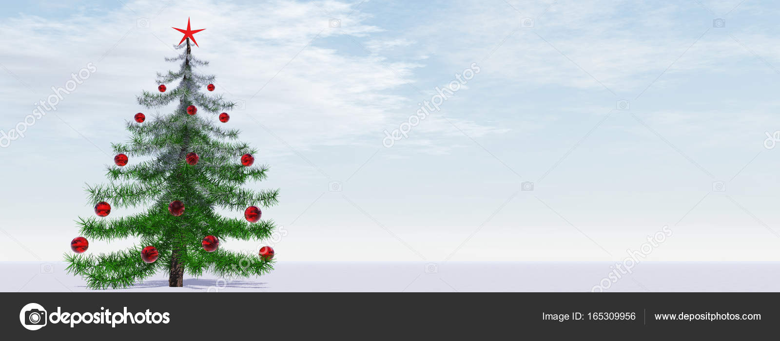 high resolution conceptual gray or silver 3d fir tree with red glass