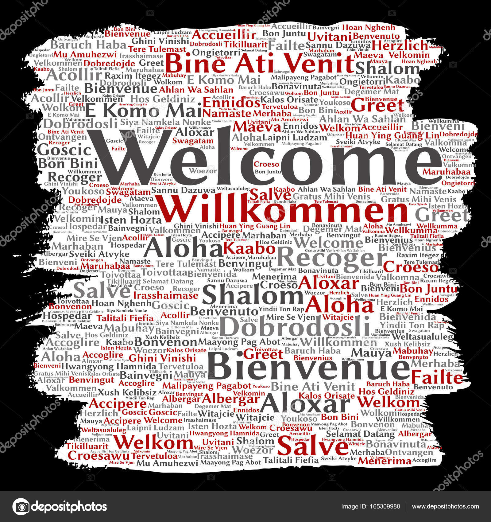Conceptual Abstract Welcome Or Greeting International Brush Or Paper