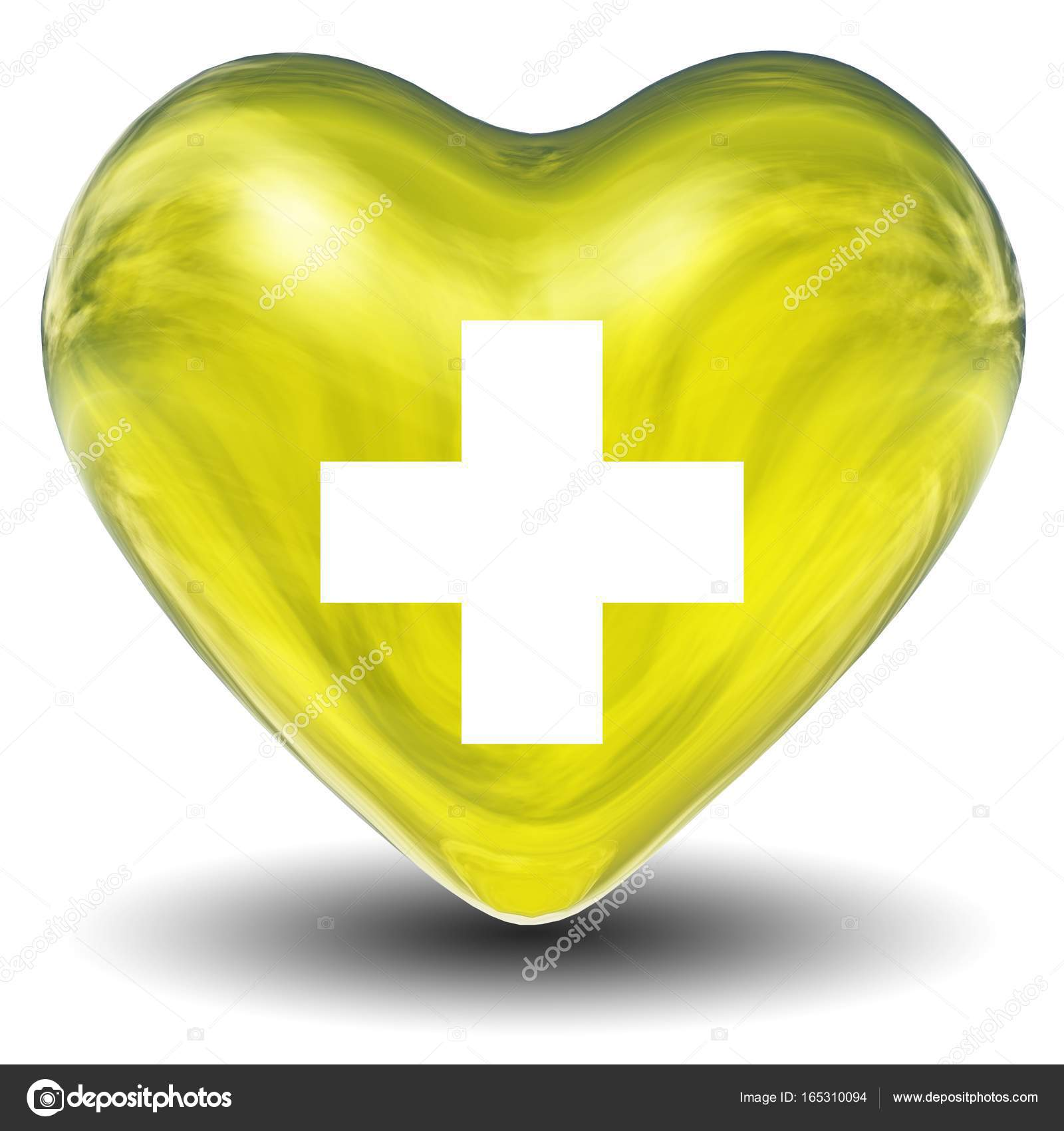 high resolution 3d heart with a cross sign or symbol isolated on