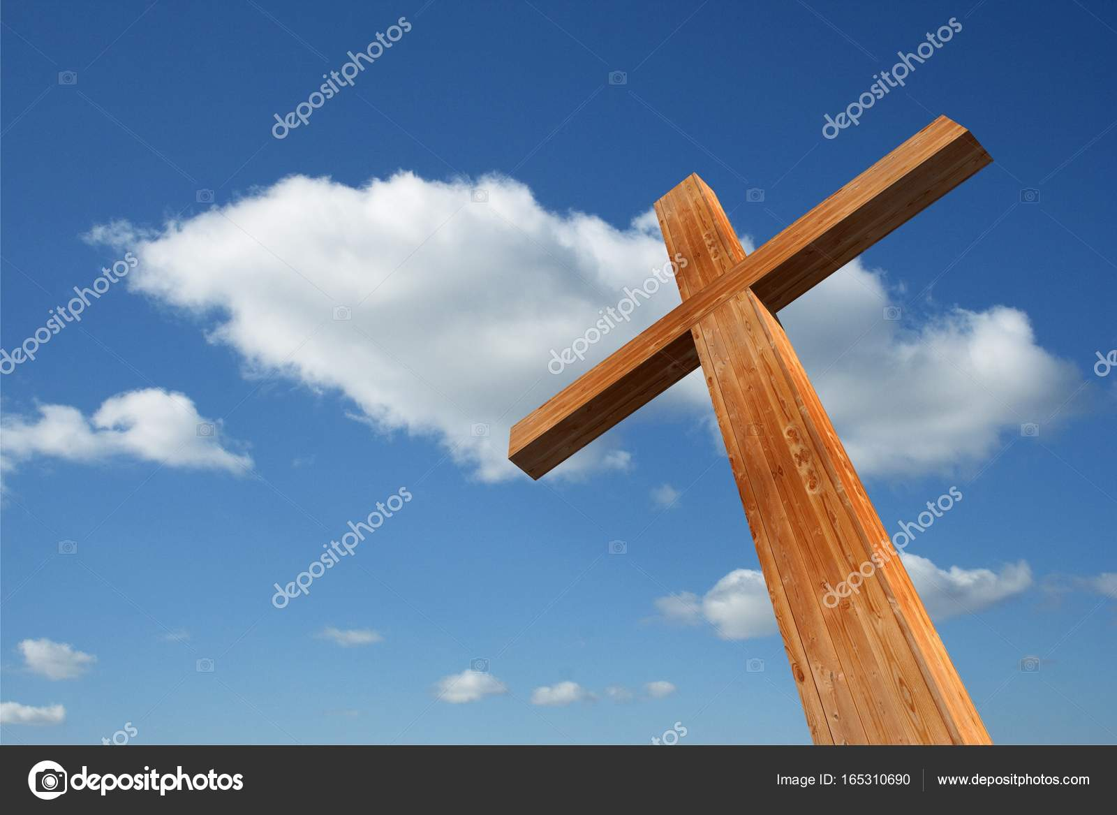 high resolution christian cross made of wood over a beautiful sky background  ideal for holiday