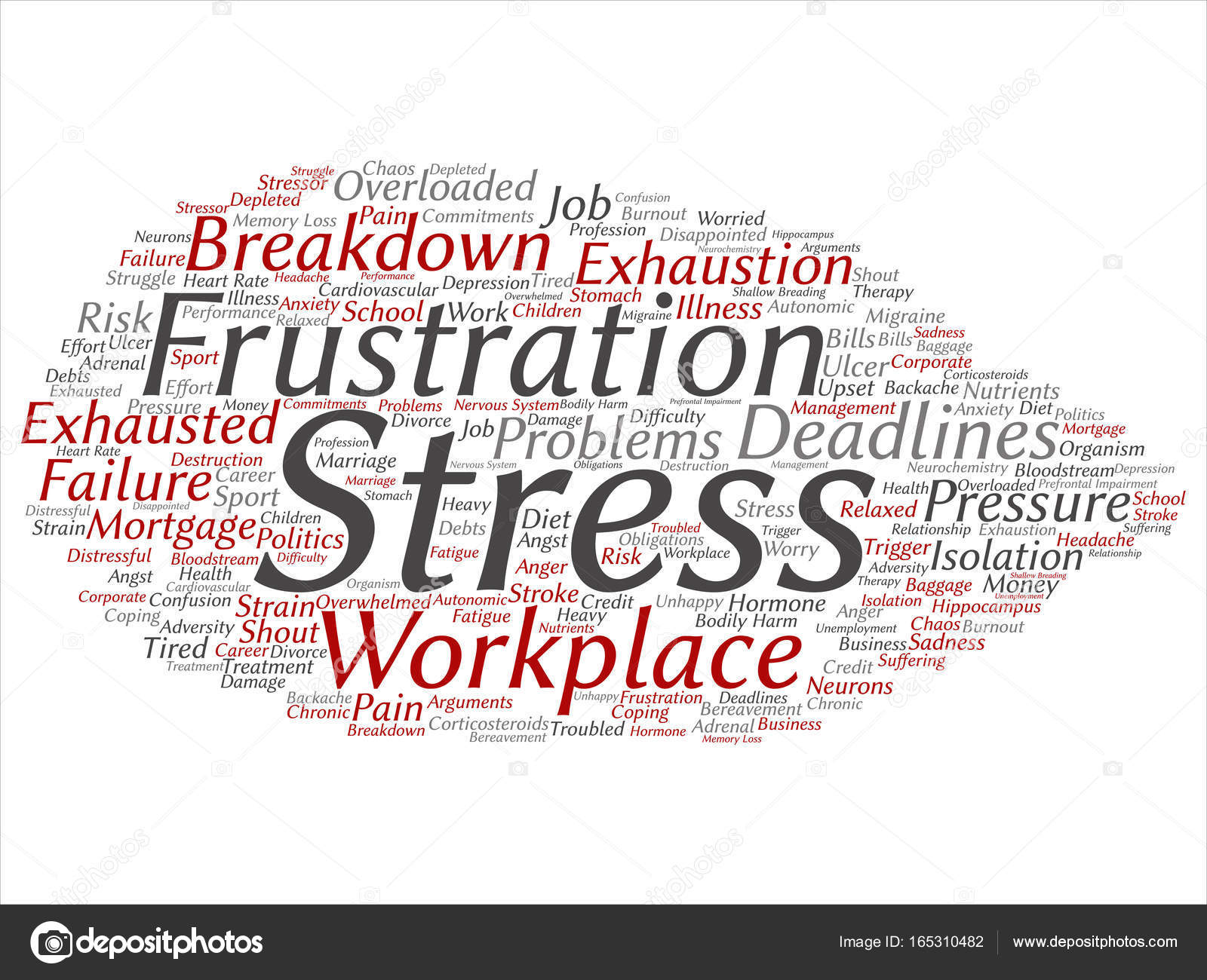 Lo stress mentale sul posto di lavoro o lavoro turno nube di parola–  illustrazione stock 9bd44471dcc