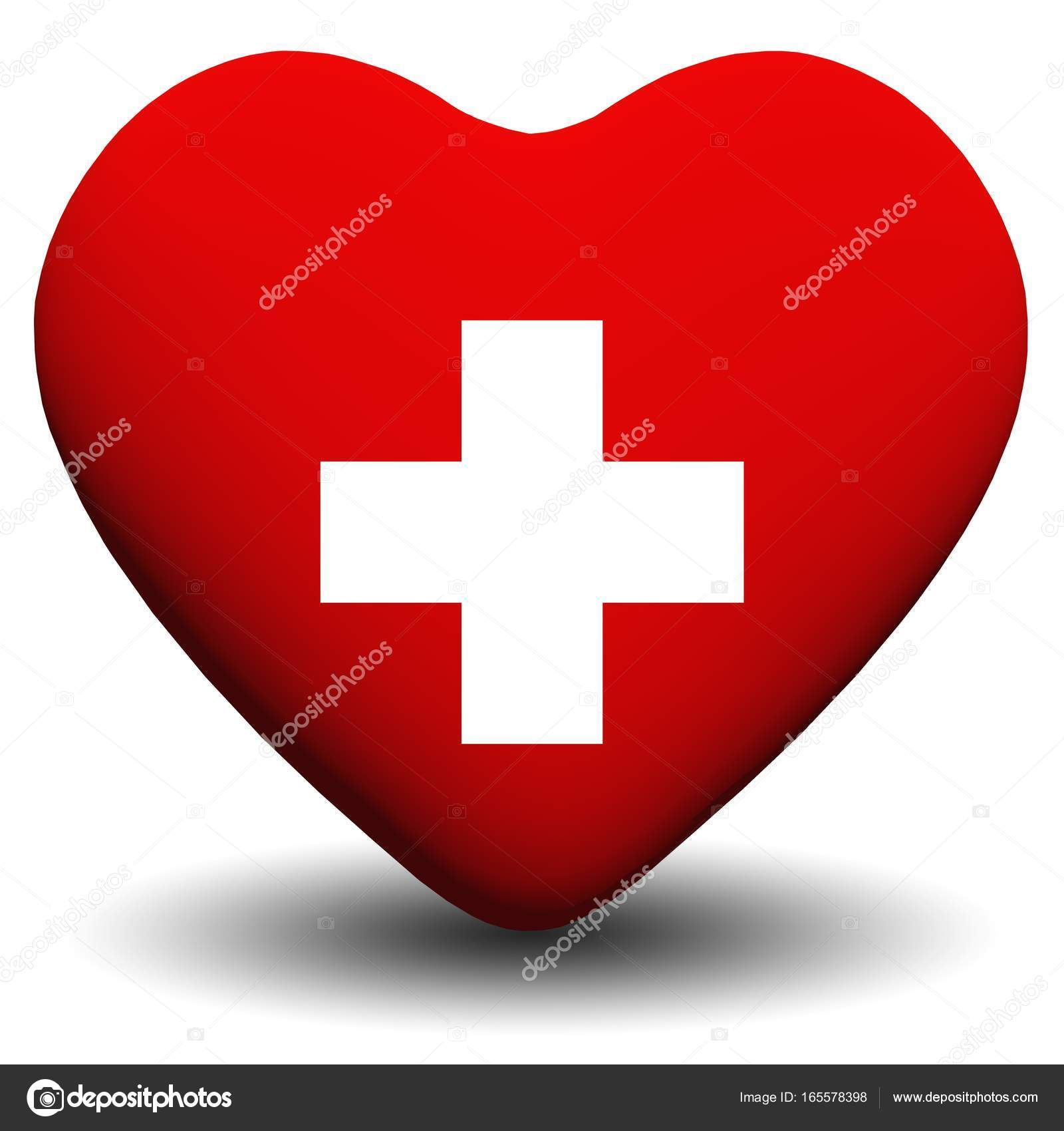 High Resolution 3D Heart With A Cross Sign Or Symbol Isolated On White Background Ideal For Medical Sanitary Medicine Designs