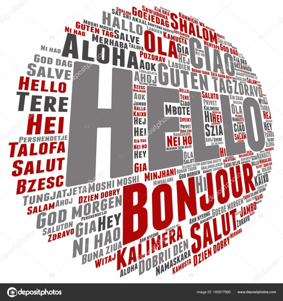 Conceptual Abstract Hello Or Greeting International Word Cloud In