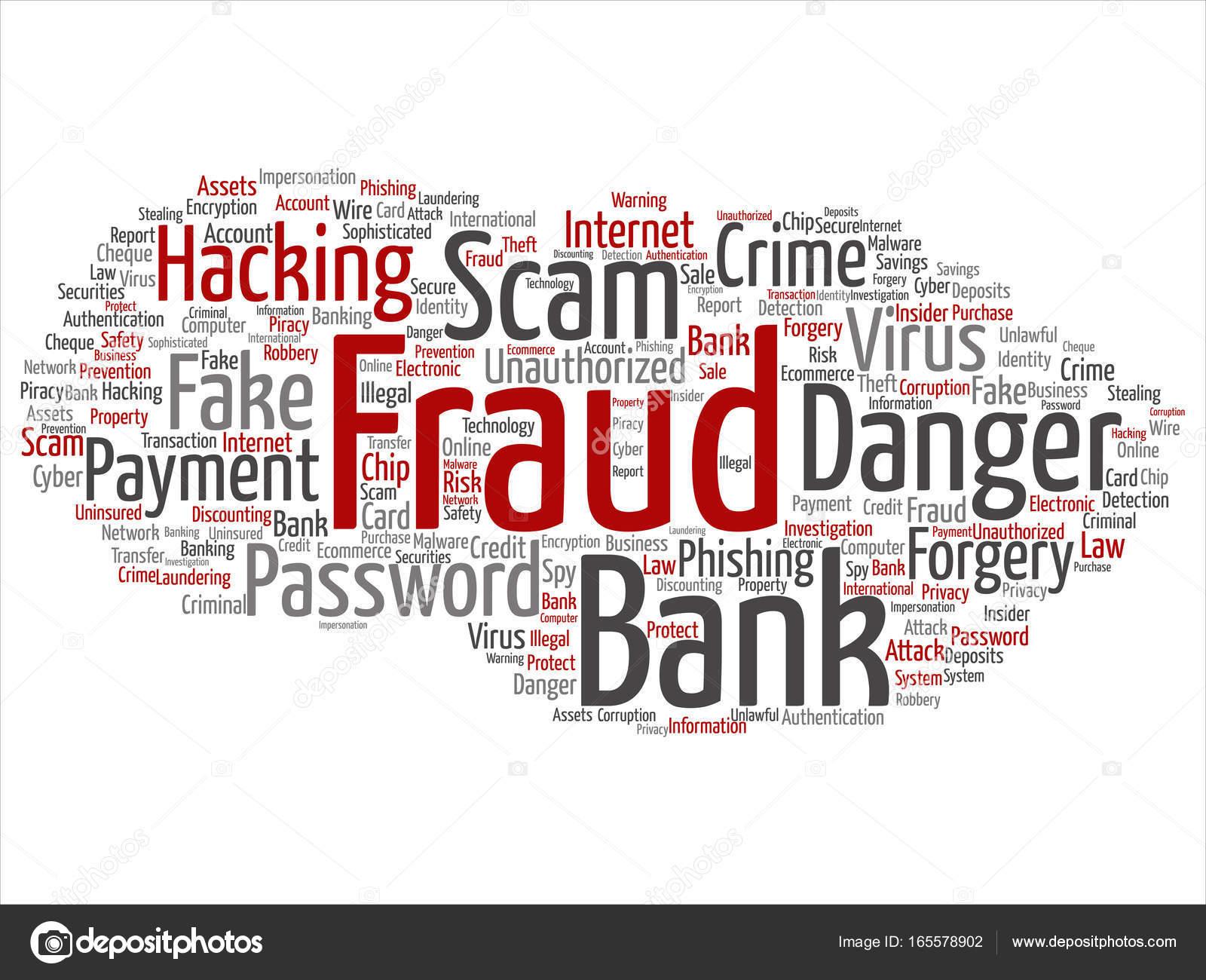 Nube de word Resumen de banco fraude pago estafa peligro — Vector de ...
