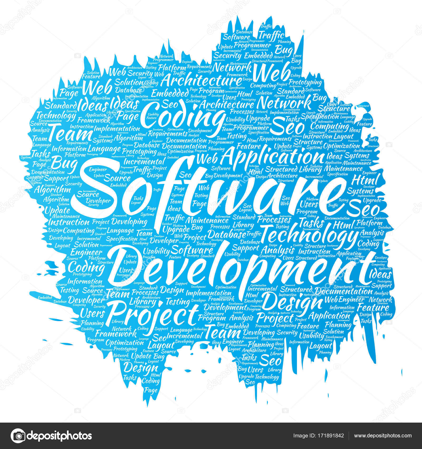 Conceptual Software Development Project Coding Technology Paint Brush Word  Cloud Isolated Background. Collage Of Application Web Design, Seo Ideas, ...