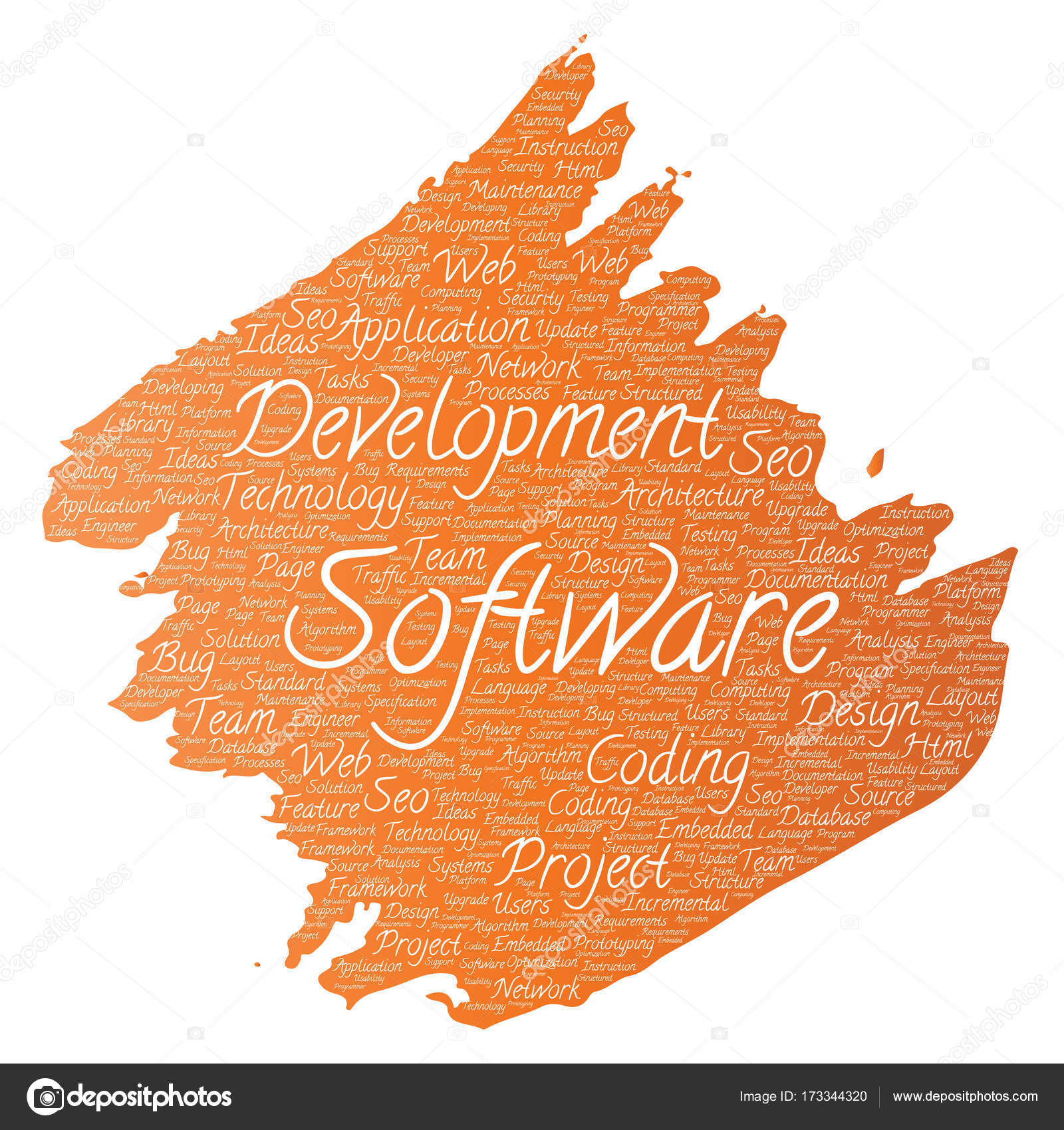 Vector Conceptual Software Development Project Coding Technology Paint  Brush Word Cloud Isolated Background. Collage Of Application Web Design,  Seo Ideas, ...