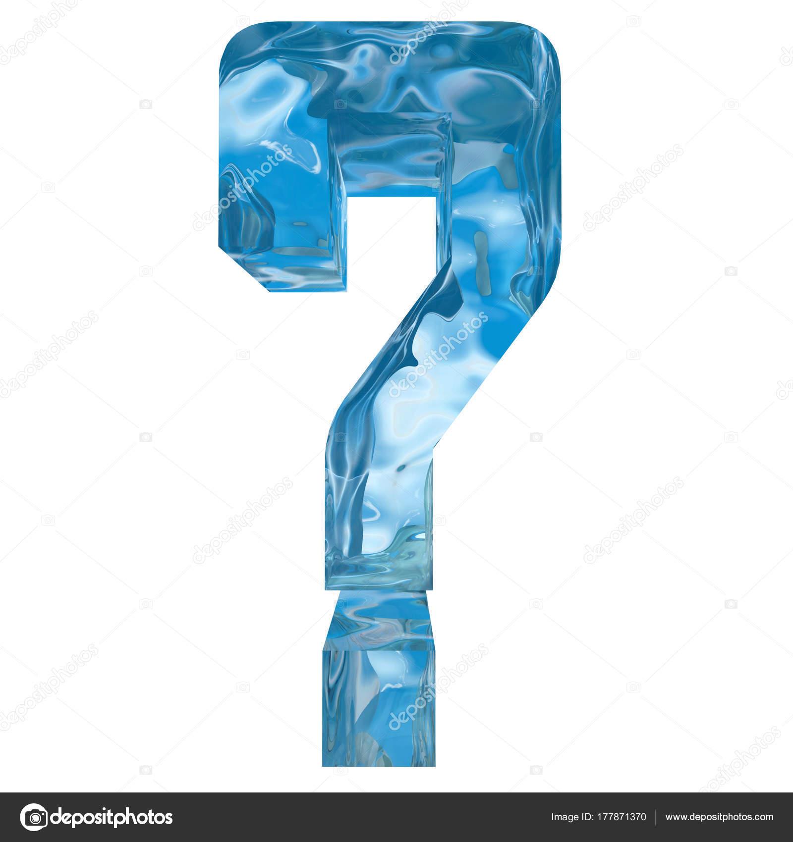 Conceptual Decorative Blue Cool Crystal Frozen Liquid Question Mark