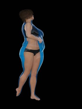 Conceptual fat overweight obese female with slim fit healthy body after weight loss or diet with muscles thin young woman