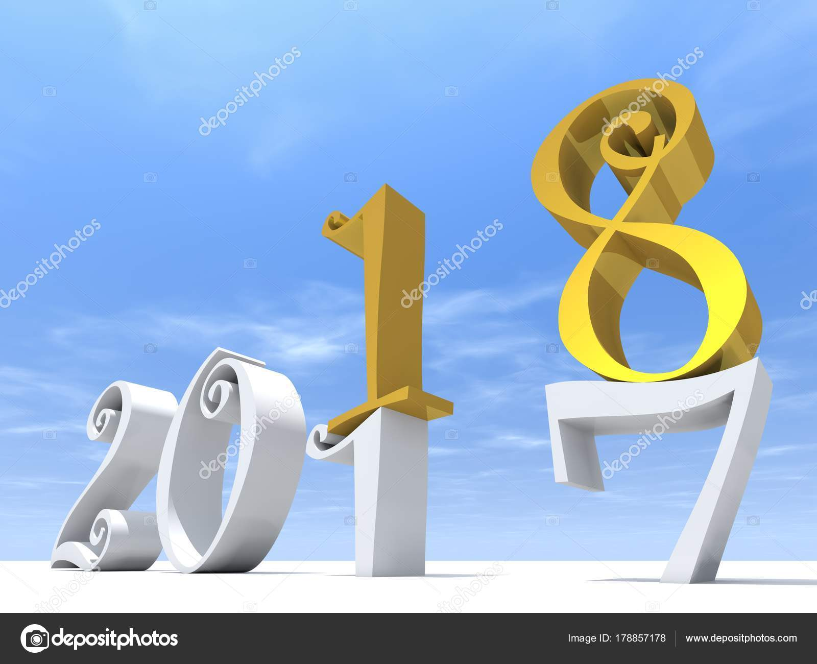 2018 White Yellow Symbol Happy New Year Eve White Snow Stock Photo