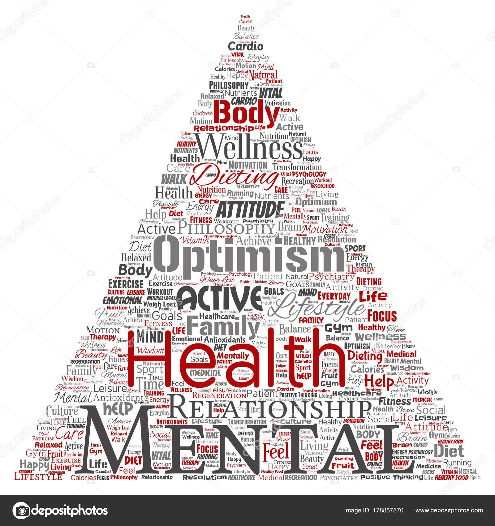 Conceptual Mental Health Triangle Arrow Word Cloud Vector ...
