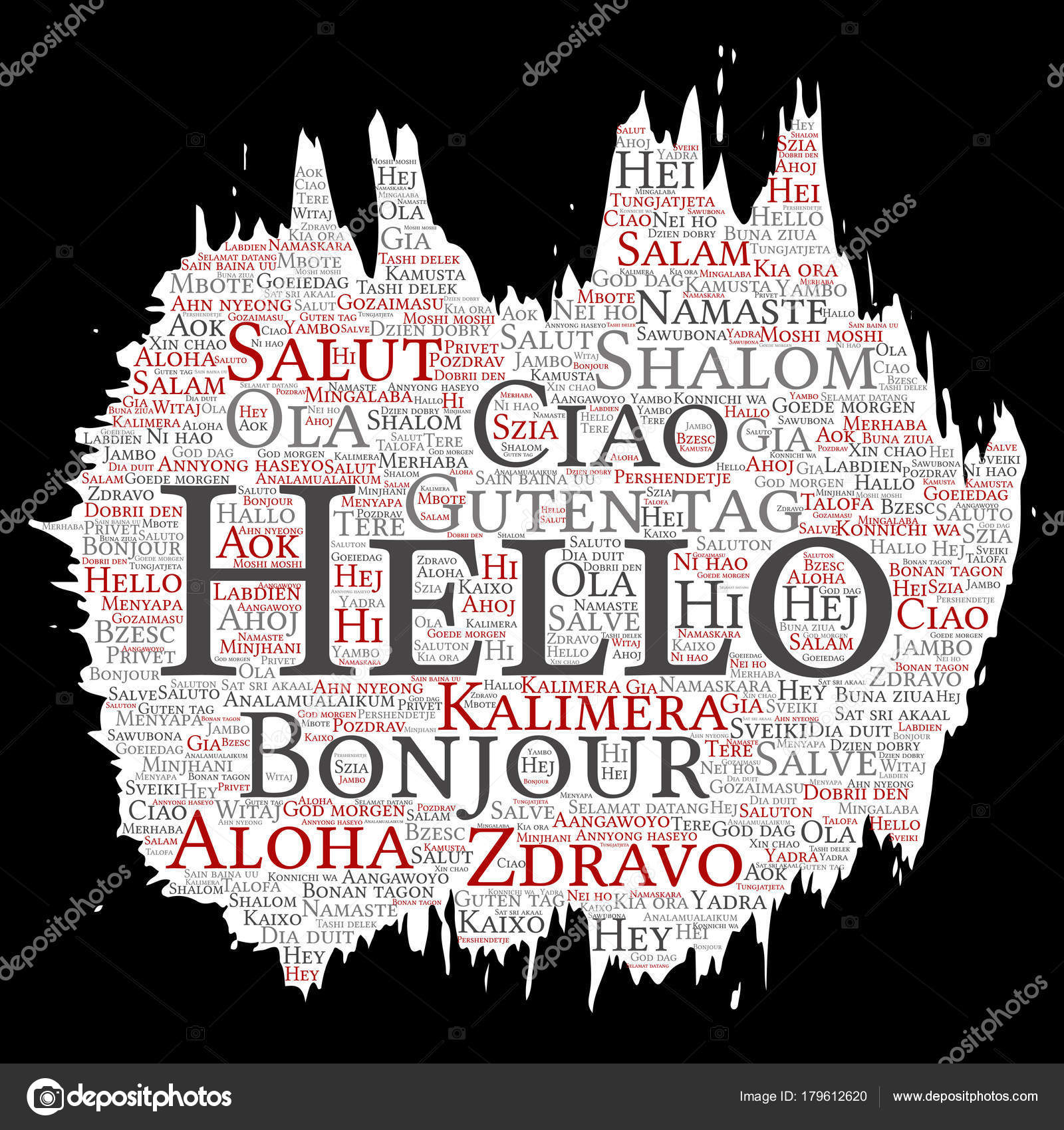 Hello Or Greeting In Different Languages Stock Vector Design36