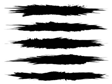 Collection of artistic grungy black paint hand made creative brush stroke set isolated on white background. A group of abstract grunge sketches for design education or graphic art decoration stock vector