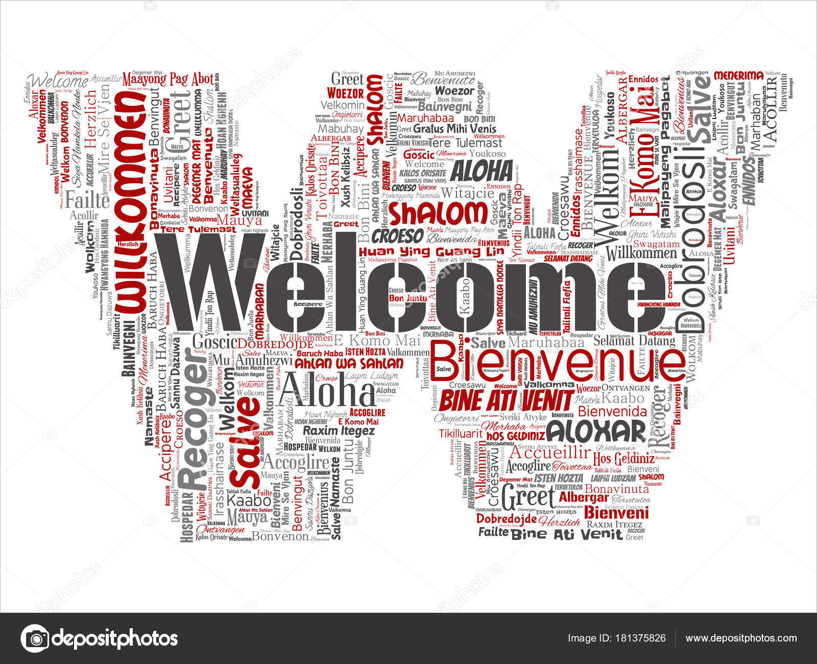 Conceptual Abstract Welcome Greeting International Letter Font Word