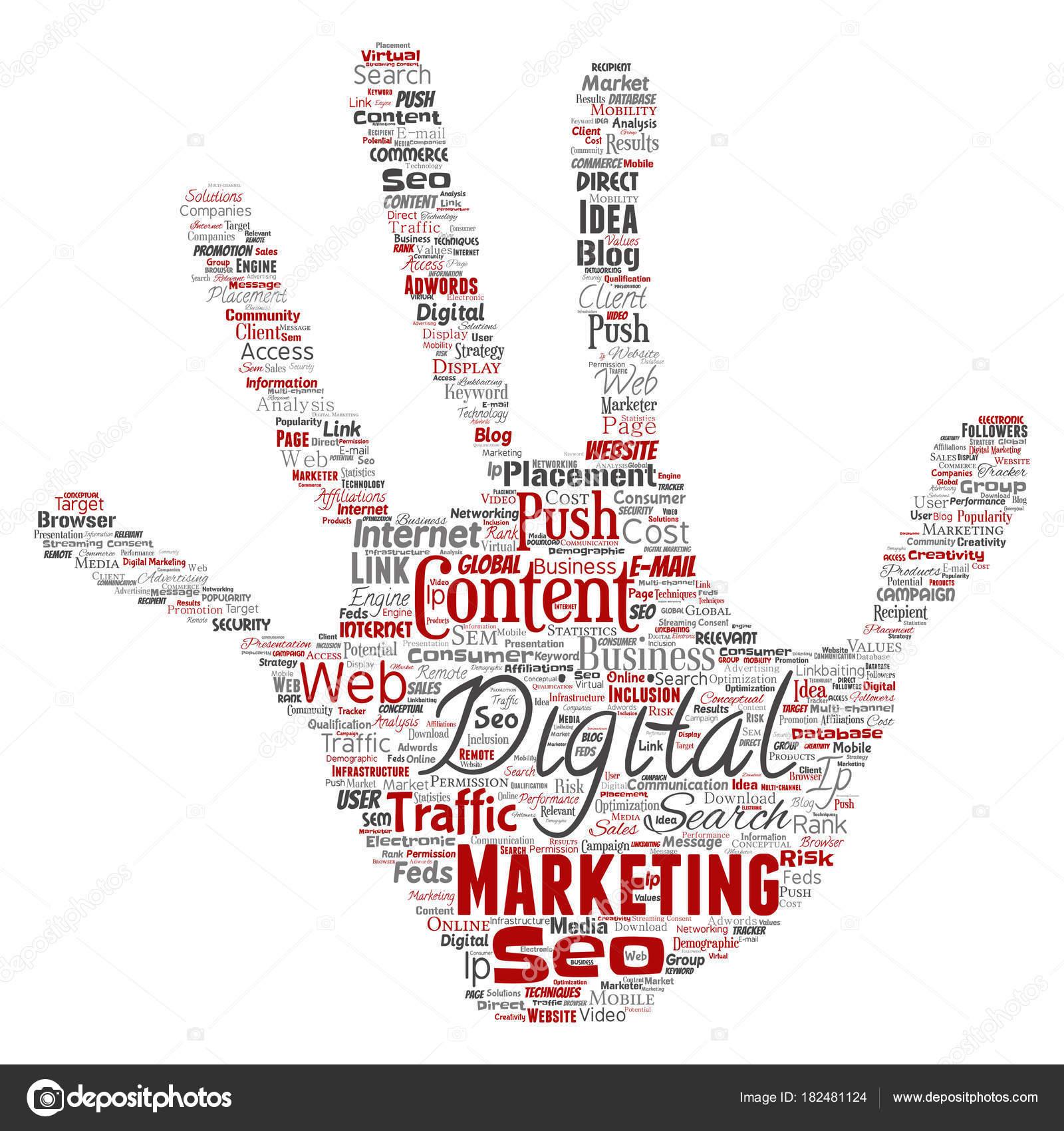 Concept Conceptual Digital Marketing Seo Traffic Hand Print