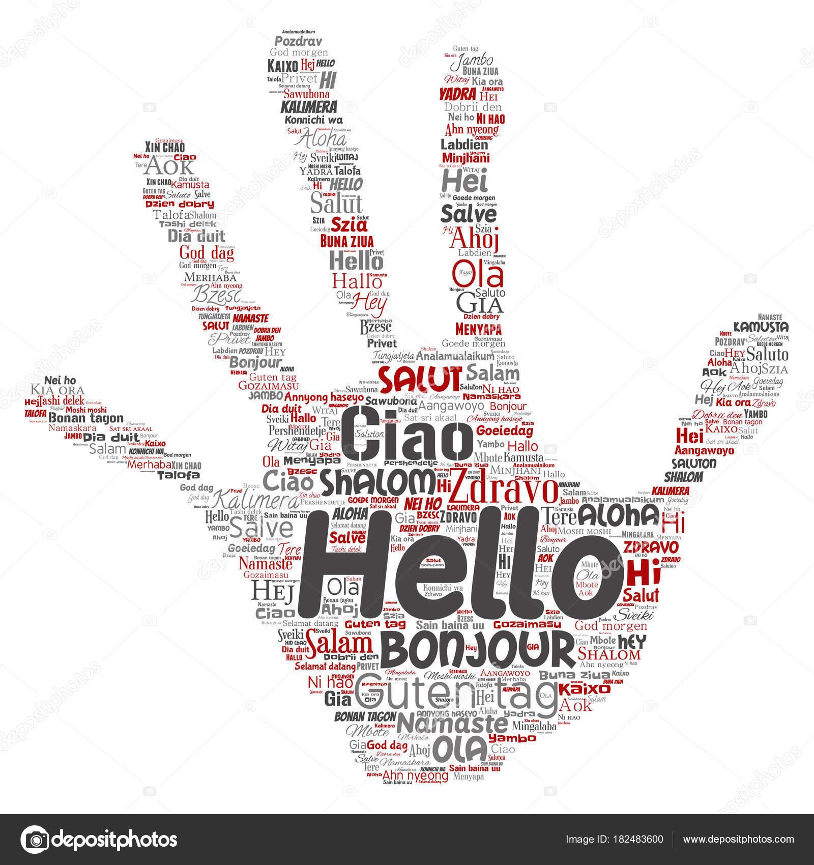 Concept Conceptual Hand Print Stamp Hello Greeting International