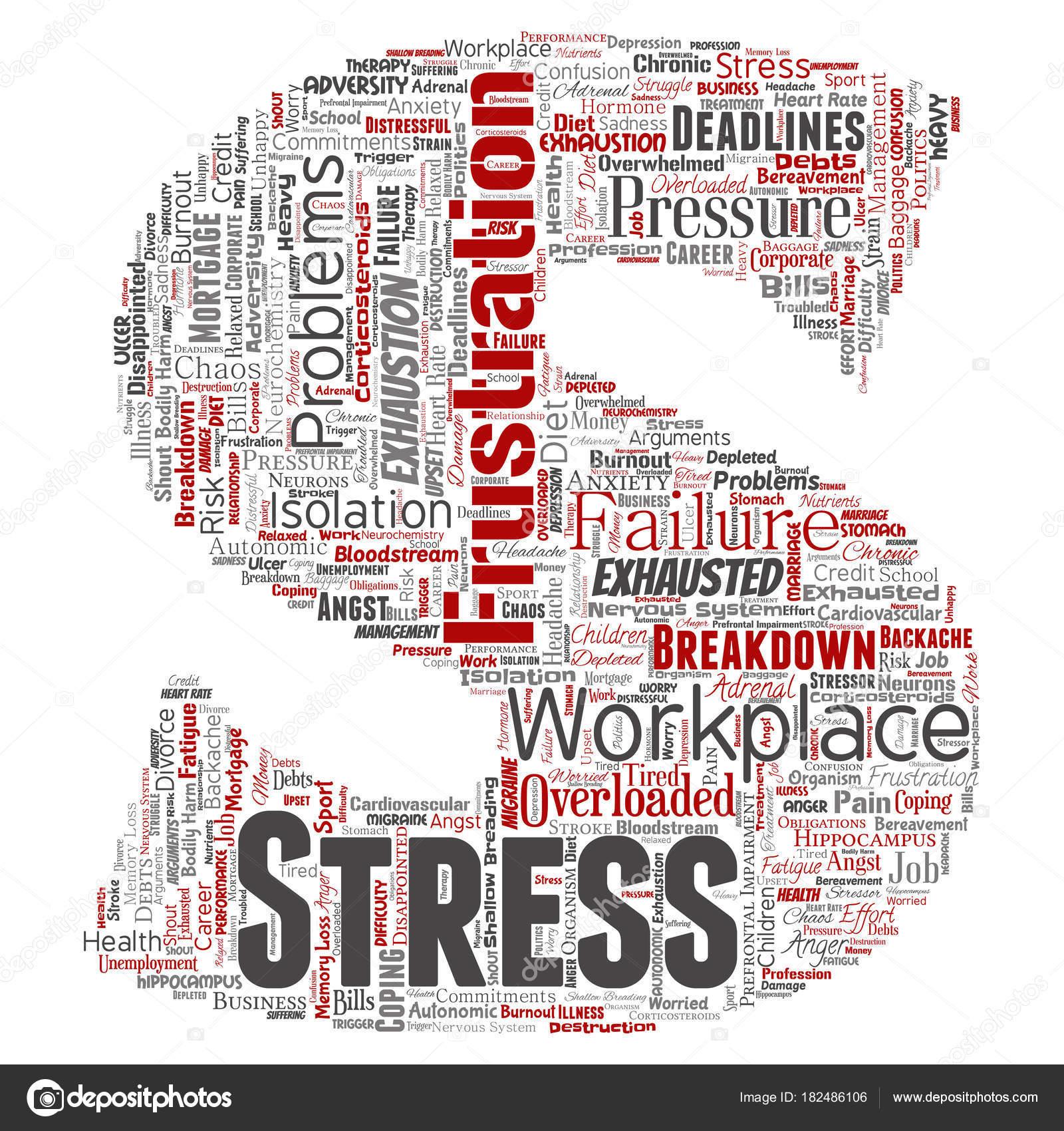 Conceptuele Mentale Stress Het Werk Baan Druk Menselijke Lettertype