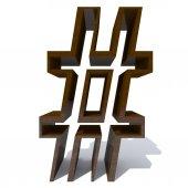 Fotografia Concettuale in legno marrone del tipo di carattere o tipo, legno o legname pezzo di industria isolato su bianco. Superficie liscia mogano a mano scolpito
