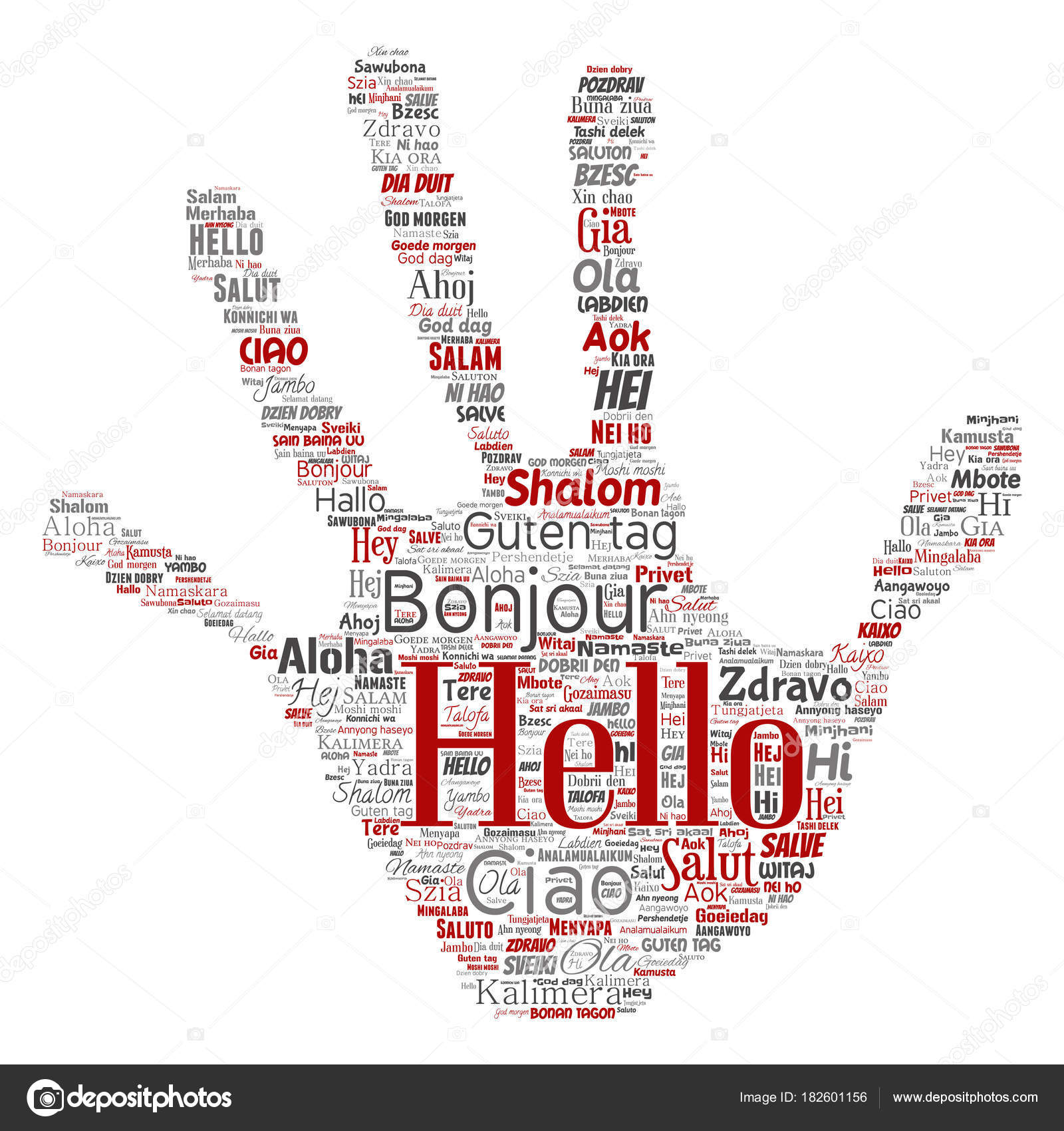 Vector Concept Conceptual Hand Print Stamp Hello Greeting