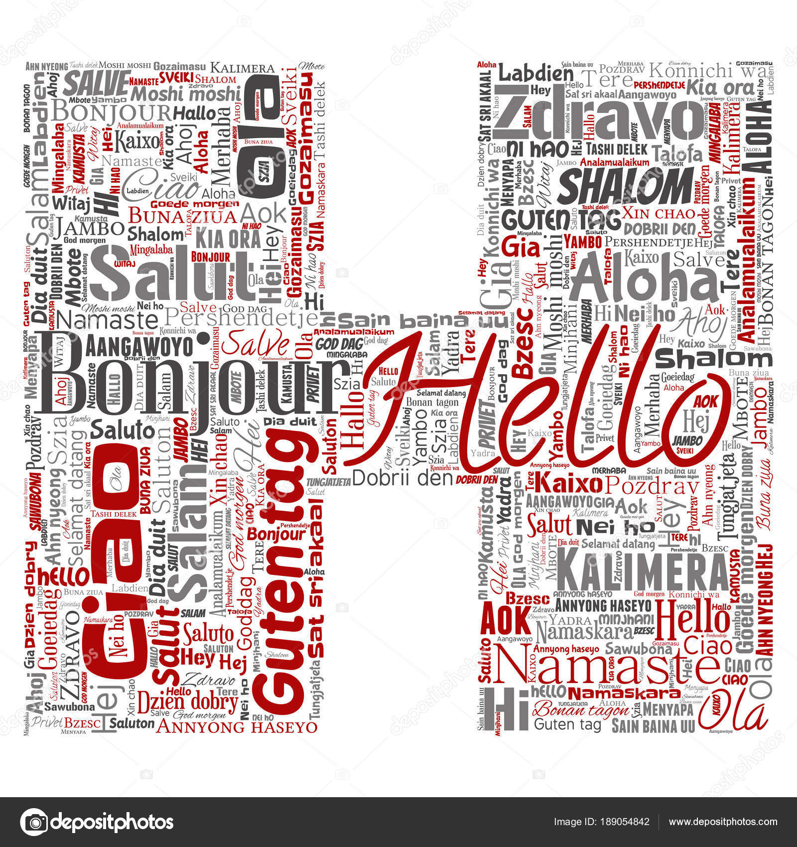 Letter Font Hello Greeting International Tourism Word Cloud