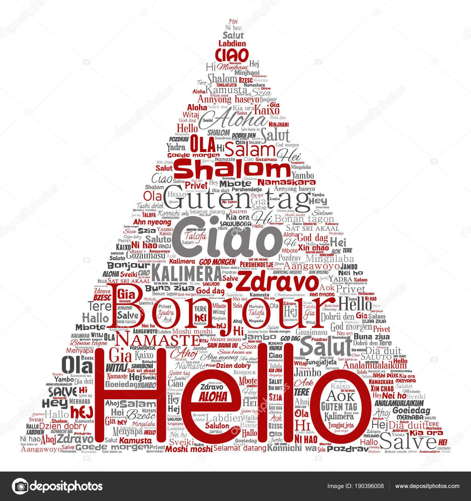 Triangular Arrow Hello Greeting International Tourism Word Cloud