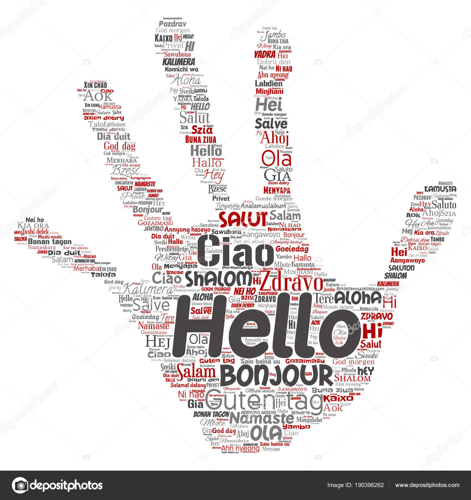 Conceptual Hand Print Hello Greeting International Tourism Different