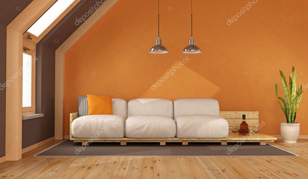 Woonkamer Op Zolder : Oranje woonkamer op zolder u2014 stockfoto © archideaphoto #125081132